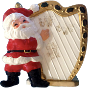 Santa Claus Playing a Golden Harp Planter Vase Ceramic Mid-Century Figurine