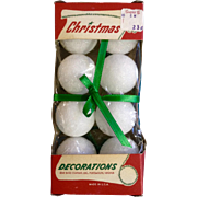Vintage Christmas Decorations Foam Balls From the Mid Century New In Box Unused