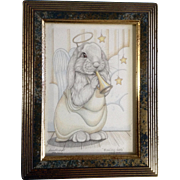 Sue Rupp Colorado Artist Limited Edition Print 346/1200 Adorable Angel Bunny Rabbit Titled Blowing Hare