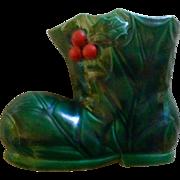 Lefton Christmas Dark Green Holly Santa Claus Boot Ceramic Planter 5185