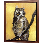 Adorable Owl Oil Painting on Canvas Signed By Artist Tony on Stretcher Bar