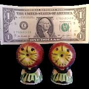 Vintage  Anthropomorphic Apple Face Salt & Pepper Shakers Japan Ceramic Figurine Set