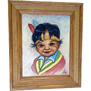 Flora Ward, Acrylic Painting on Canvas, Little Indian Boy Signed by Artist