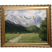 F Hildebrand, Swiss Alps Valley Oil Painting on Board Signed by Artist 1934