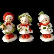 Vintage Napco Bone China Miniature Christmas Girl Carolers Spaghetti Trim Japan Figurines