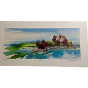 Keith Greba Limited Edition Print #344 Kelp, Otter in a Kelp Bed Signed and Numbered by Artist