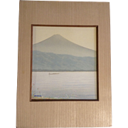 Kyoha Watercolor Painting Plein Air Landscape Mount Fuji, Japan, Works on Paper Signed by Artist