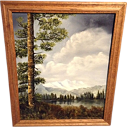 W Hayes, Oil Painting on Canvas Original Signed by Artist, Plein Air Mountain Lake Great for Home Decorator or Designer