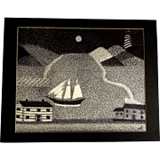 Ernest G Lucas, Ship with a Lighthouse, Pointillism Mixed Media Painting Works on Paper Signed by Texas Artist