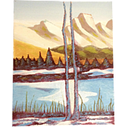 Ernest G Lucas, Oil Painting on Board of Twin Trees on a Lake by Texas Artist