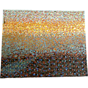 Ernest G Lucas, Oil Painting on Board Abstract Field of Flowers with a Sunrise by Texas Artist