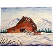 Dot Nix, Folk Art Barn in Winter Oil Painting on Canvas Panel Board Signed By Artist