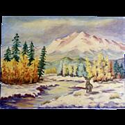 Dot Nix, Primitive Elk in Winter Landscape Oil Painting on Canvas Panel Board Signed By Artist