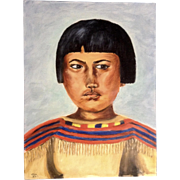 Dot Nix, Primitive Indian Boy Portrait Oil Painting on Canvas Panel Board Signed By Artist