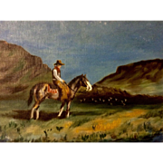 Dot Nix, Cowboy Watching Over the Herd at Twilight Oil Painting on Canvas Panel Board Signed By Artist