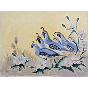 Dot Nix, Covey of Quail June Wanderers Oil Painting on Canvas Panel Board Signed By Artist