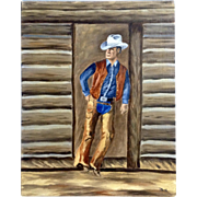 Dot Nix, Cowboy Leans Against a Door Post Oil Painting on Canvas Panel Board Signed By Artist