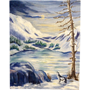 Dot Nix, Lone Wolf Howling at the Moon Painting on Canvas Panel Board Signed By Artist