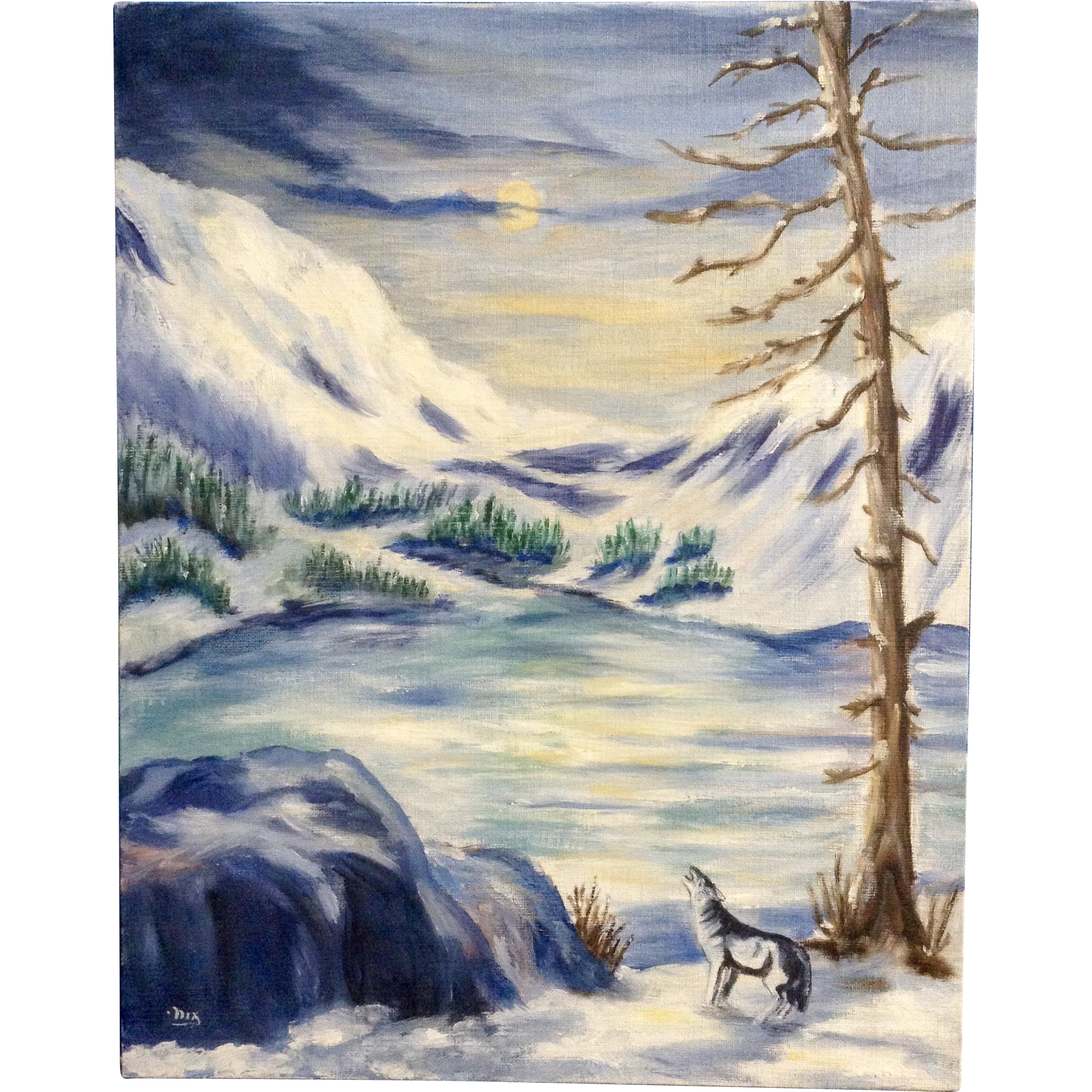 dot nix lone wolf howling at the moon painting on canvas panel