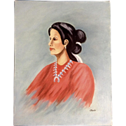 Dot Nix, Portrait of an Indian Woman Painting on Canvas Panel Board Signed By Artist
