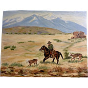 Dot Nix, Cowboy Rounding Up the Strays Painting on Canvas Panel Board Signed By Artist