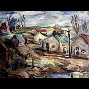 People in a Neighborhood Postimpressionist Oil Painting on Board