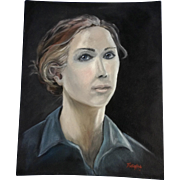 Ghostly Blue Eyed Portrait of a Woman Oil Painting on Artist Panel Board Signed by Artist