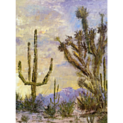 Charlee, Plate Knife Oil Painting of A Desert Vista with Cactus Signed by Artist