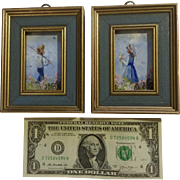 Jaybird, Miniature Oil Painting on Artist Board Boy Fishing Girl Picking Wildflowers Signed By Artist