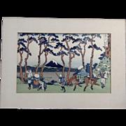 Katsushika Hokusai, 東海道程ヶ谷 Hodogaya on the Tokaido, Mount Fuji Japanese Woodblock Print Works on Paper 1960-1980 Edition