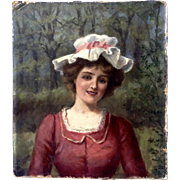 William Howard Robinson An English Maid Portrait Oil Painting on Art Board Signed by Listed Artist