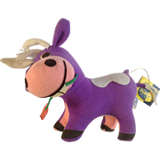Vintage Dankin Dream Pets Purple Chewzy Suzy Cow Plush Stuffed Animal 1977