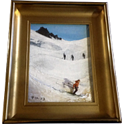 PIA, 3D Downhill Colorado Skier Oil Painting on Canvas Board Signed By Artist