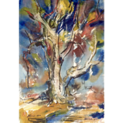 Frederick Dwight Kirsch Jr. (1899-1981) Watercolor and Ink Painting Oak in Autumn Signed by Listed Artist Dated 1960
