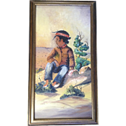 G M Sloan, Small Indian Boy Scouting the Desert, Oil Painting on Canvas Board Signed by Artist
