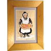 James MacKellar Waldron (1909-1974), Hand Colored Stone Etching, Folk Art Painting of Amish Lady Holding Pies, Signed by Pennsylvania Listed Artist