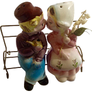 Vintage Kissing Dutch Boy & Girl Salt and Pepper Shakers Sitting on Park Bench Japan Figurine