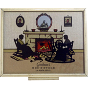 Vintage Souvenir Silhouette Picture Reverse Glass Painting From Goodman's Men's Store La Junta, Colorado Picture