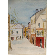 Cloyd, Watercolor Mixed Media Painting City Street Scene Works on Paper Signed by Artist