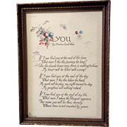 Carleton Everett Knox, Vintage Poem Picture 1918 Watercolor Painting, You, Signed by Artist
