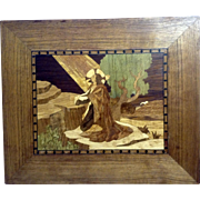 Christ Jesus in the Garden of Gethsemane Inlaid Wood Marquetry Picture