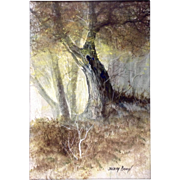 Joseph Boon, Painting, Hardwood Tree in the Fall, Belgium American Colorado 20th Century Plain Air Watercolor Mixed Media Painting Signed by Listed Artist