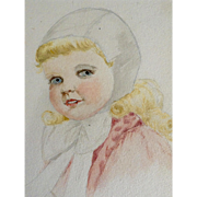 Little Girl Watercolor Painting Works on Paper Art Deco Era Elgin, Illinois