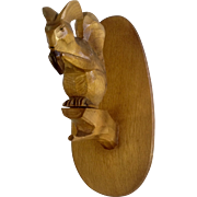 Vintage Germany Squirrel Wood Carving Wall Plaque Late Mid-Century Decor