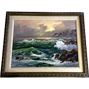 Mary Ellen Cunningham, Oil Painting on Canvas Seascape Coastal View Signed by Artist