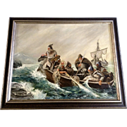 S Lindqvist, Oil Painting on Canvas Panel Board Vikings Coming Ashore Signed by Artist