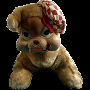 Rushton Rubber Faced Bulldog 1950's-1960's Stuffed Plush Dog Toy By Rushton Star Creations Atlanta, Ga.