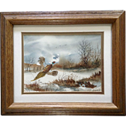 Nice Ring-necked Pheasant in Field Watercolor Painting Works on Paper Unsigned