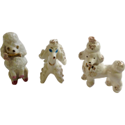Retro White French Poodle Dog Miniature Figurines Set Spaghetti & Gold Painted Trim Porcelain Japan