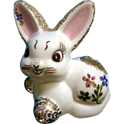A. Linton, 1954 Adorable Hand Painted Bunny Rabbit Ceramic Gold Trim Floral Figurine